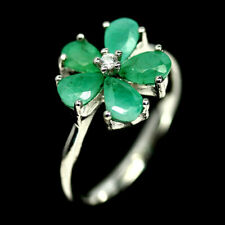 NATURAL GREEN EMERALD PEARL & CZ RING 925 SILVER STERLING SZ7.75