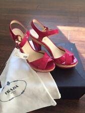 PRADA NWT Vernice Ibisco Pink Cork Wedges Sandals Patent Leather Sz 36 6 $659