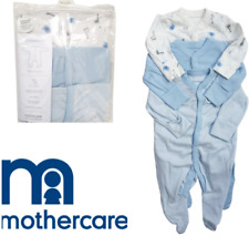 3X mothercare blue boys elephant giraffe animals sleepsuits babygrows pyjamas