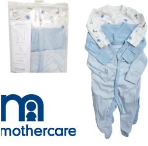 SALE 3X mothercare BLUE baby boys elephant giraffe animals sleepsuits babygrows