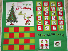 How the Grinch Stole Christmas Dr. Seuss Advent Calendar Fabric Panel  #15182