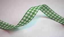 *** GREEN/WHITE CHECK  -  Ribbon - 10mm Wide ***