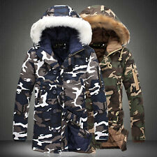 Men Warm Down Cotton Jacket Fur Collar Thick Winter Hooded Coat Outwear Parka A