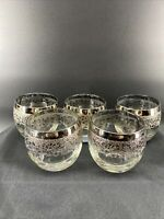 Vintage MCM Dorothy Thorpe Style Roly Poly Silver Fade Barware 5 Glasses