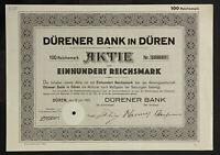 🇩🇪GERMANY 830/B&V -Dürener Bank in Düren 1925 100 RM🇩🇪