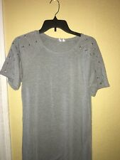 CG Cable & Gauge Shift Dress Gray braided sleeve accents Women's Medium