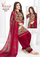 Printed Unstitched Salwar Kameez Indian Pakistani Synthetic Bollywood Trendy