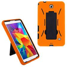 "hybrid rugged stand hard case cover for samsung galaxy tab 4 7"" 7.0 (orange)"