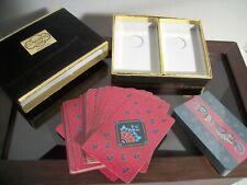 Vintage Congress Playing Cards 2 Decks Paisley Velvet Box Printed in Spain