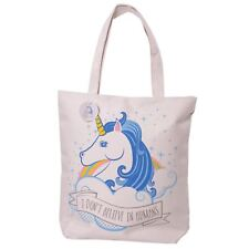 Unicorn Shopping Bag I Don't Believe In Humans 39cm High Handy Cotton Zip Up