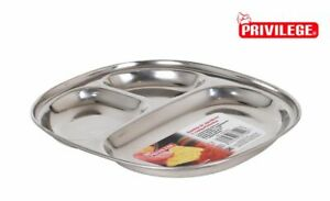 4X Stainless Steel Thali Tray Plate 3 Compartment Dish BBQ Party 13.5X2CM