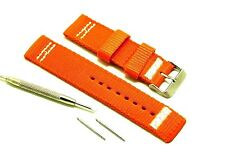 22mm Orange Nylon Replacement Watch Band With Spring Bar Remover Tool