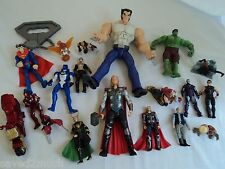 Marvel and DC Universe Action Figure Lot.  Wolverine Hulk, Loki, Deadpool, etc