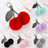 Faux Fur Pom Pom Ball Key Chain Fluffy Cherry Keyring Charm Bag Pendant Gifts