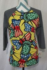 NWT Womens Lularoe Size Small Americana Randy Lady Liberty American Flag Bow