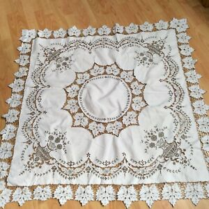 vintage ivory linen tablecloth with cutwork & brown embroidery