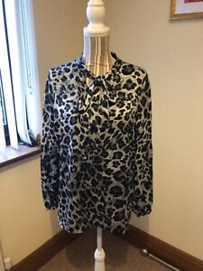 MICHEAL KORS BLACK/GREY ANIMAL PRINT BLOUSE WITH PUSSY BOW TIE SIZE LARGE