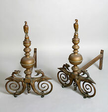 A FANTASTIC PAIR OF MID 19TH CENTURY FIRE DOGS/ANDIRONS OF LARGE PROPORTIONS