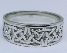 R280-Genuine SOLID 9K White Gold HEAVY WIDE Celtic BAND Ring Wedding size U
