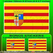 "ARAGON Aragonese Flag SPAIN Zaragoza Spanish 100mm (4"") Sticker Decal x1+2 BONUS"