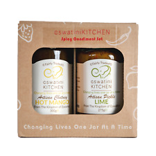 Curry Condiment Gift Set - Hot Mango Chutney and Lime Pickle - 1 x 300g 1 x 275g