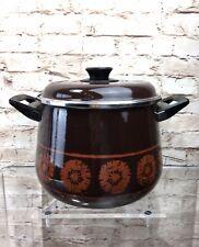 New listingVintage 1970's Enamel Pan Cooking Pot Kitchenalia Lidded Saucepan Brown Flower