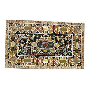 Black Marble dining Table Top Mosaic Scagliola Inlay Handmade Art Home Deco B348