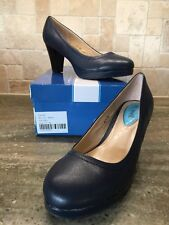 Fitzwell Women's MANDY Navy Blue Leather Casual Dress Pumps Heels Shoes NEW 6.5W
