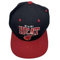 Miami Heat Mitchell & Ness NBA Black Red Snap Back Hat Cap GUC Basketball