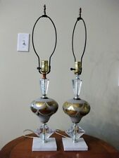 VINTAGE PR 40'S HOLLYWOOD REGENCY CRYSTAL REVERSE PAINT GOLD GLASS LAMP GERMANY
