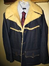 Sears Roebucks Men Western Cowboy Rancher Jean Coat Faux Shearing Jacket 42 Long