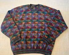 Vintage Jhane Barnes Wool Blend Crewneck Sweater Men XL Textured Geometric