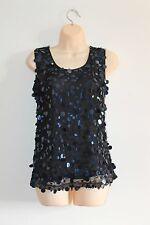 M&Co BNWT Boutique Black Large Sequin Embellished Sheer Party Top Size 10