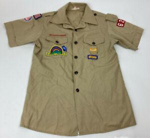 BOY SCOUTS OF AMERICA Youth TAN Uniform SHIRT w/ Patches Boy's Sz 16
