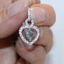 Topacio Azul Cielo Diamante Alternativas Pendientes Corazón 14k Blanco Oro Sobre