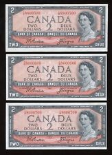 1954 Bank of Canada $2 - Lot of 3 Cool Serial Numbers