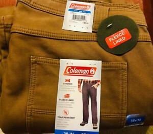 NEW Coleman Fleece Lined Stretch Work Pants Retail $85 38 x 30 38W 30L Carpenter