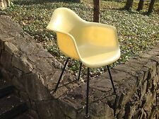 VINTAGE Eames LEMON YELLOW Herman Miller X-BASE Arm Chair ARMSHELL Lg Shock 1953