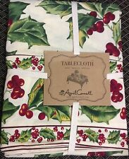 "April Cornell Tablecloth  60 x 84"" Christmas Red Holly Green  Cotton  New oblong"