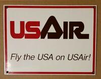 US Air USAir Vintage Airplane Porcelain Airport Sign 1970s/1980s No Rusting