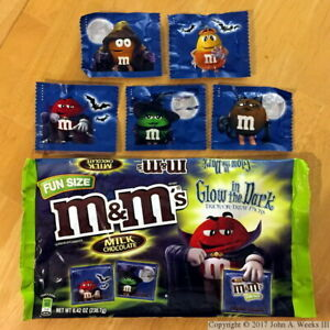 Glow In The Dark M&Ms  Limited Edition Halloween Candy 8.42 Oz. Bag Fun Size