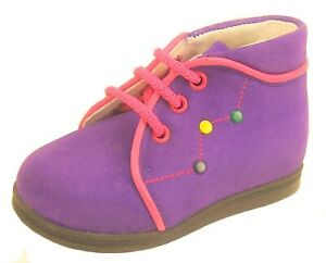 DE OSU - Baby Girls Purple Fuschia Leather Boots - European Shoes Sizes 4-4.5