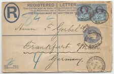 1894 2d REGISTERED LETTER SENT TO GERMANY UPRATED 2X2.5d JUBILEES SEE SCANS