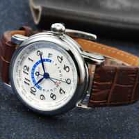 43mm Corgeut Stainless Steel Case White Dial GMT Date Automatic Men Wrist Watch