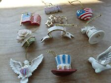 Lenox The Tree of Independence 10 Pc Mini Ornaments Set Patriotic Pre-owned