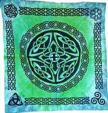 "Tie-Dye Celtic Shield Altar Cloth NEW 36"" Blue Green Triquetra Cotton Square"