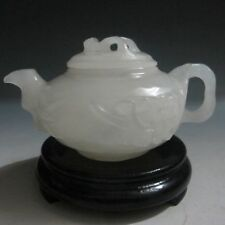 CHINESE 100% NATURAL AFGHANISTAN JADE HAND-CARVED PLUM FLOWER TEAPOT & LID