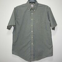 Brooks Brothers Mens Button Down Short Sleeve Shirt Large Yellow & Blue Gingham