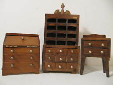 Vintage Wooden Doll House Furniture Desk China Cabinet Side Bureau Lot of 3