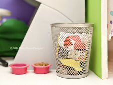 Silver WASTE BASKET TRASH CAN for American Girl Doll House Bedroom Kitchen